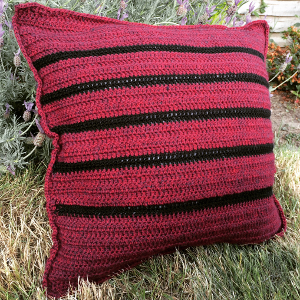 Crochet Cushion Pattern - A gorgeous striped crochet throw pillow pattern by Lucy Kate Crochet