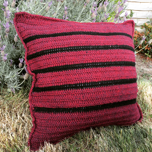 Crochet Throw Pillow Pattern - A gorgeous striped crochet cushion pattern by Lucy Kate Crochet