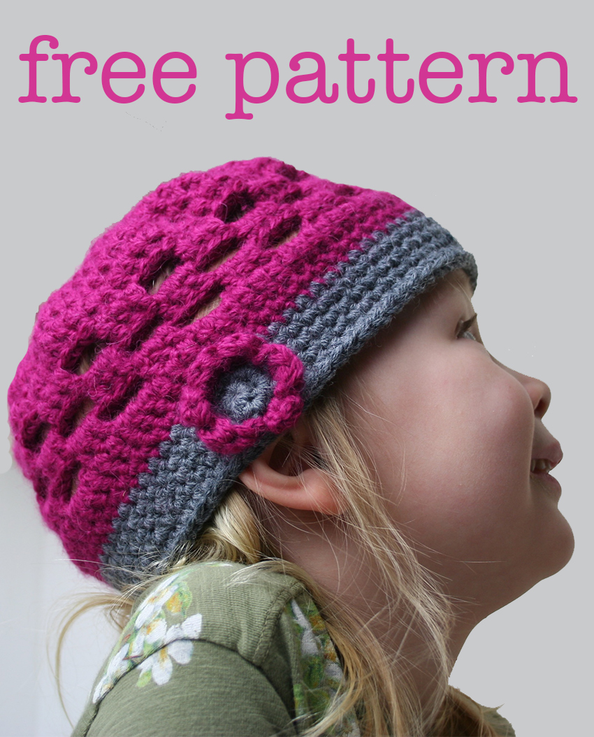 Free crochet pattern for a cute crochet kids hat.