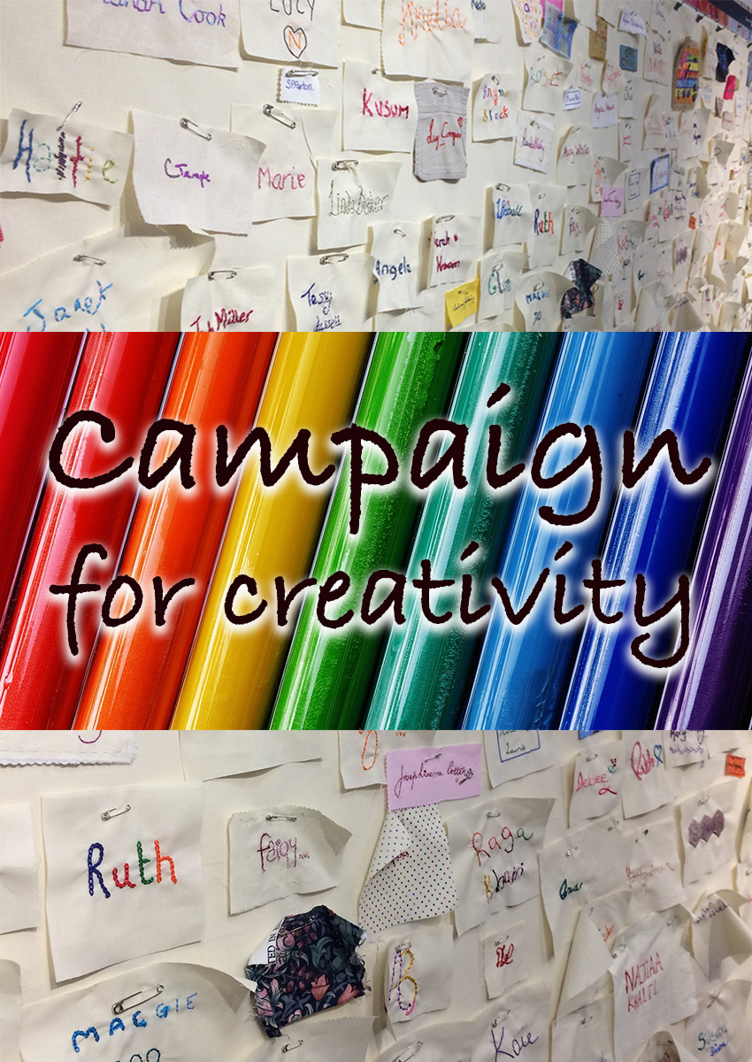 Campaign For Creativity - Wall of Sewn Signatures at The Knitting and Stitching Show. Supporting crafts for kids in schools.